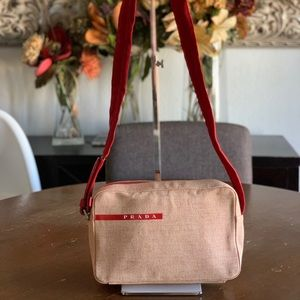 Prada red canvas adjustable strap bag